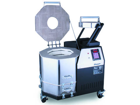 Paragon Vulcan Mobile Crucible Kiln For Ceramics, Porcelain, Pottery, And Glass Kiln With A Sentry Programmer.